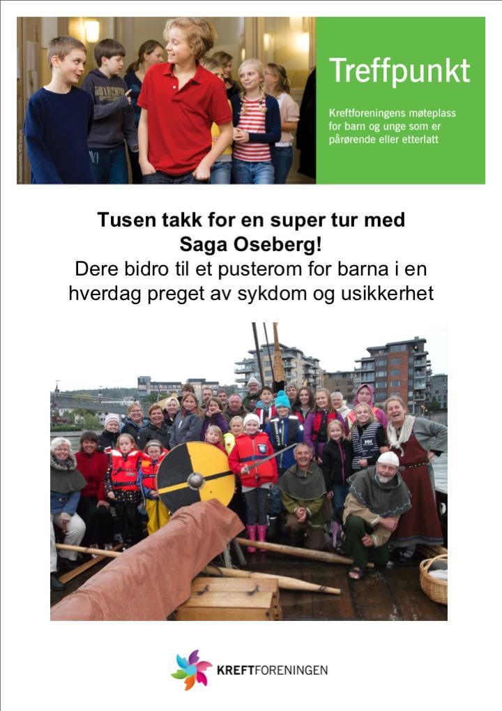 En takk fra Kreftforeningen til Saga Oseberg
